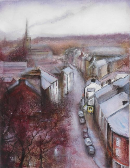 Oil painting of Clitheroe from the Castle