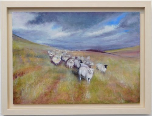 Oil painting of a flock of sheep on the hills.