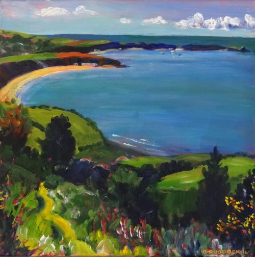 Oil painting of Nefyn Bay North Wales in bold, vivid colours.