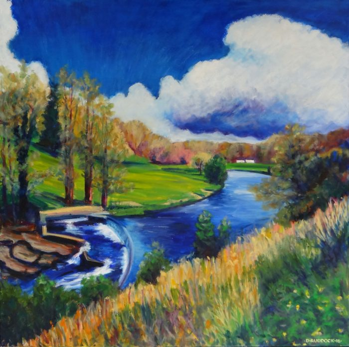 Oil painting of the River Ribble at Waddow.
