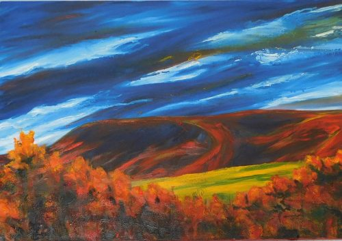 Oil painting on canvas of Pendle Hill.